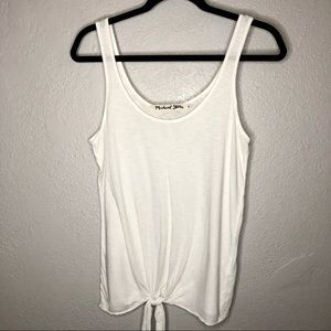 Michael Stars White Tie Front Tank Top One Size